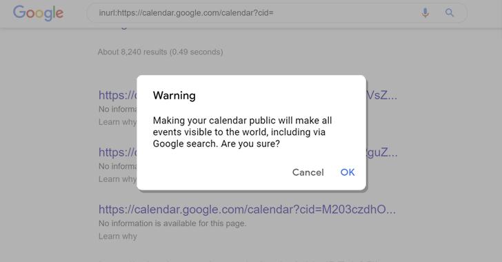 成千上万的谷歌日历可能会在线泄露私人信息